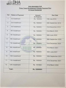 DHA Bahawalpur Development Charges Payment Plan for 1 Kanal