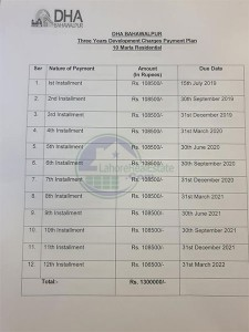 DHA Bahawalpur Development Charges Payment Plan for 10 Marla
